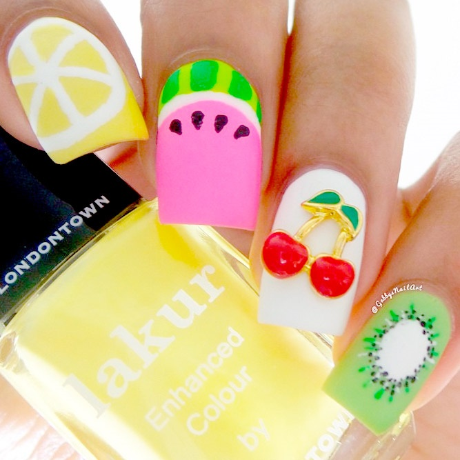 Bright Rainbow Nail Art Ideas picture 1