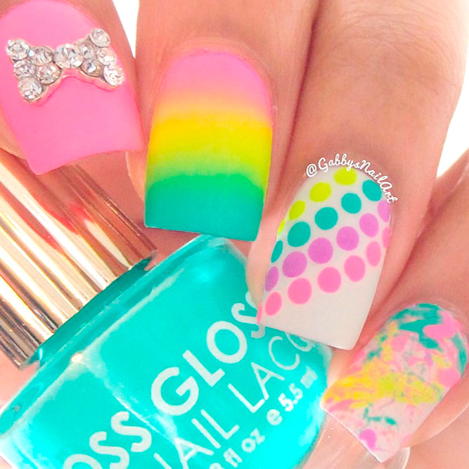 Bright Rainbow Nail Art Ideas picture 3