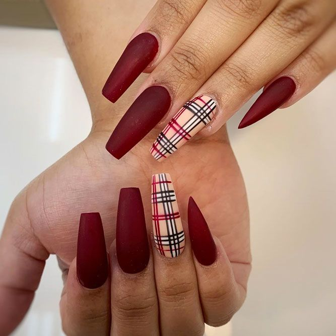 Matte Red Nails With Burberry Accent