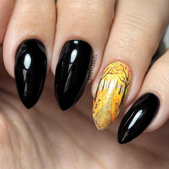 Noble Black Manicure With Autumn Accent #blacknails #almondnails