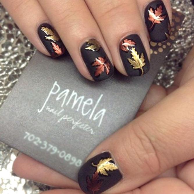 Matte Black Nails With Golden Leaves Accent #blacknails #Mattenails