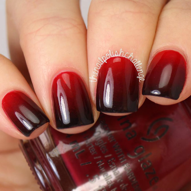 Bold Black And Red Ombre Nails #ombrenails #blackrednails
