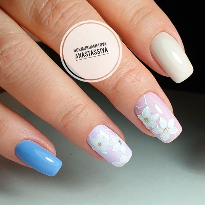 Сute Pastel Blue Nails With Spring Flowers