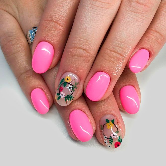 Summer Pink Nails With Charming Floral Patterns