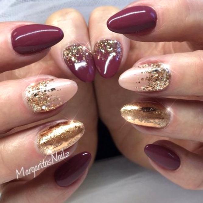 Bold Color Combination With Bright Glitter Accent #almondnails #glitternails