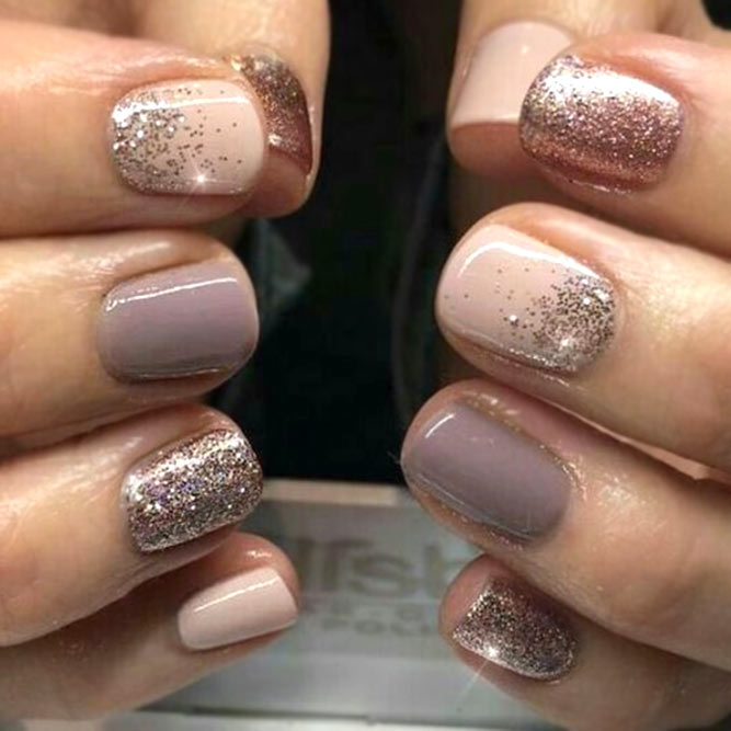 Classic Combination Of Basic Colors #nudenails #glitterombre