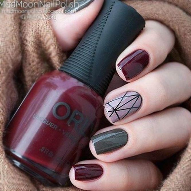 Dark Shaded Nails With Geometric Accent #darknails