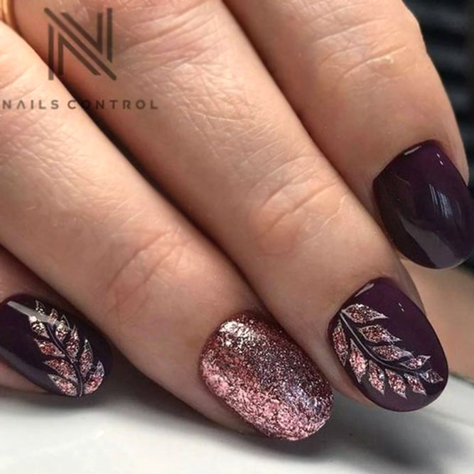 Dark Wine Color Nails #roundnails
