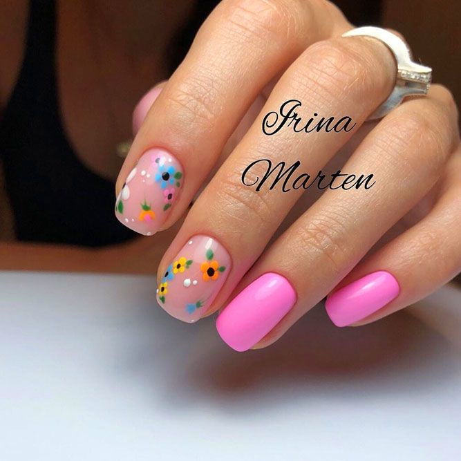 Pink Nails With Charming Floral Patterns