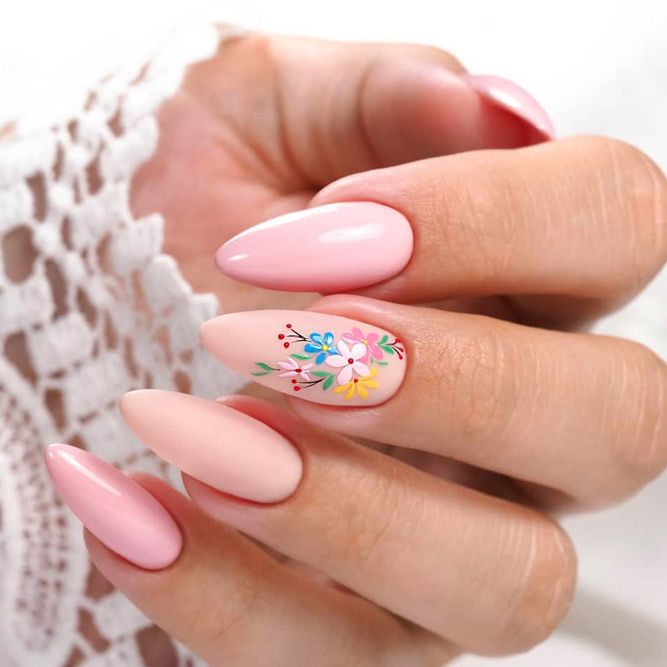 Nude Nails With Flowers