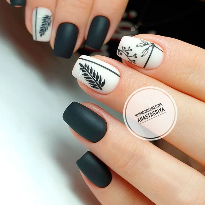 Matte Black Nails With Leaves Accent