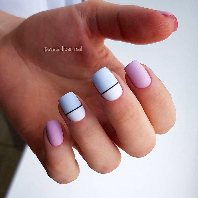 Minimalistic Horizontal Stripes For Matte Manicure