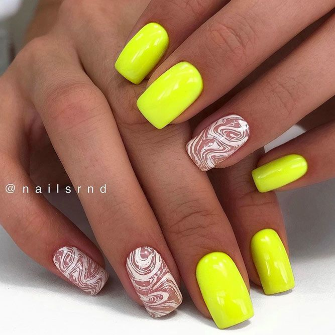 Intricate Stamping Designs With Neon Nails