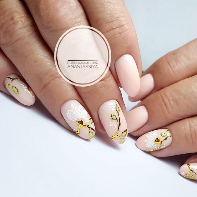 Сute Pastel Nails With Spring Flowers #flowernails #ovalnails #longnails #nudenails
