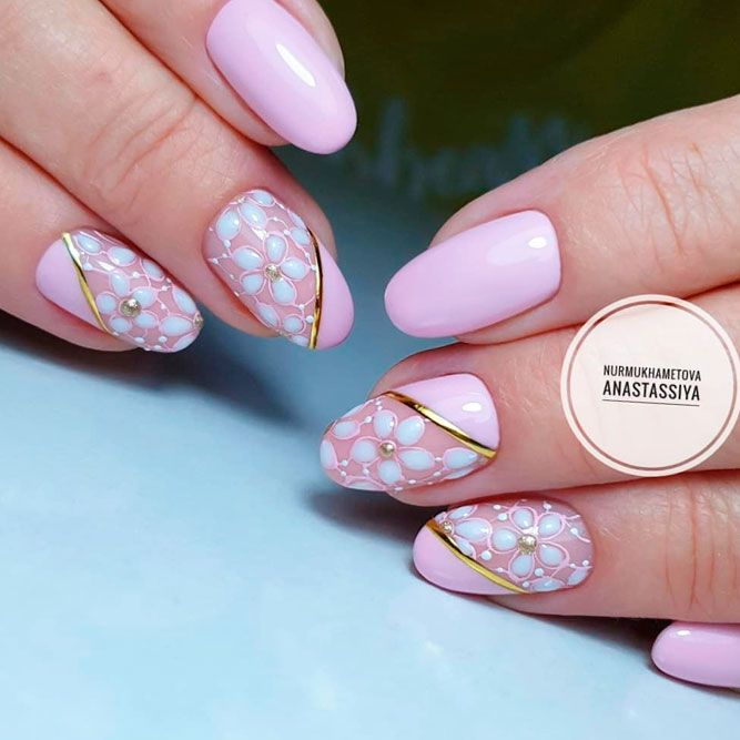Сute Pastel Pink Nails With Spring Flowers
