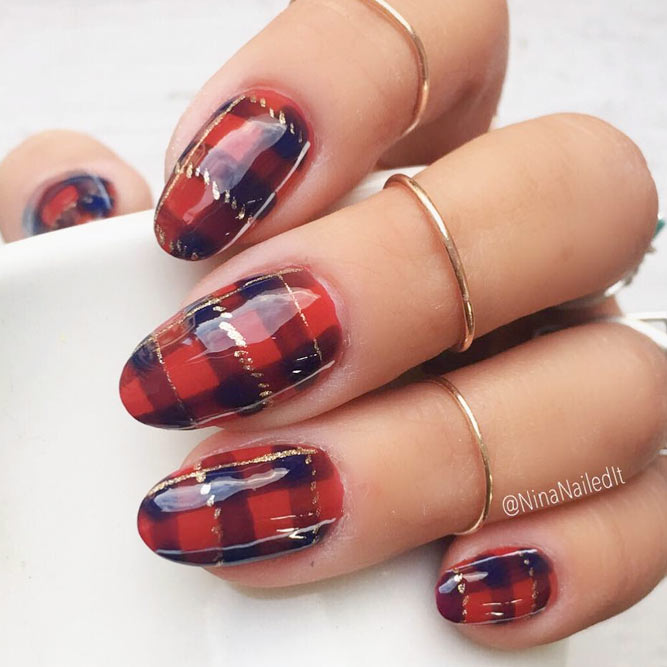 Warm Plaided Season Nails picture 3