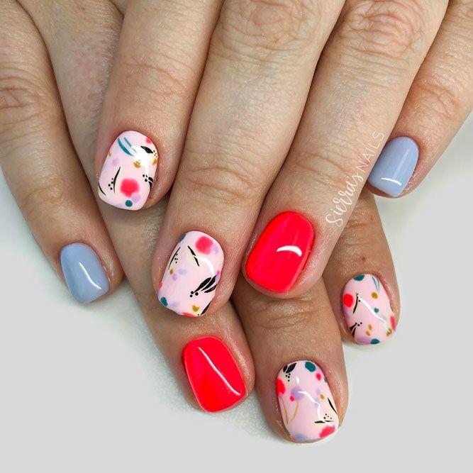 Colorful Nails With Charming Floral Patterns