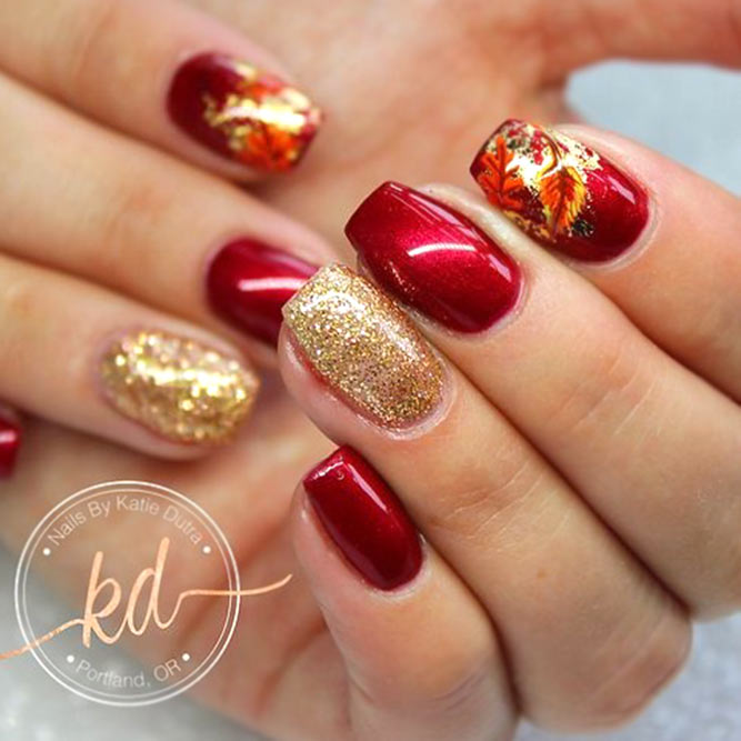 Classic Red Color Nails With Gold Accent #rednails