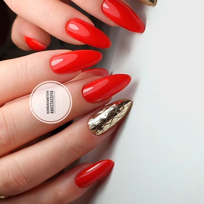 Classic Red Color Nails With Gold Accent