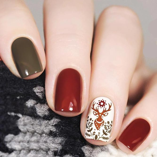 Winter Nail Design with Reindeer Stamping picture 2