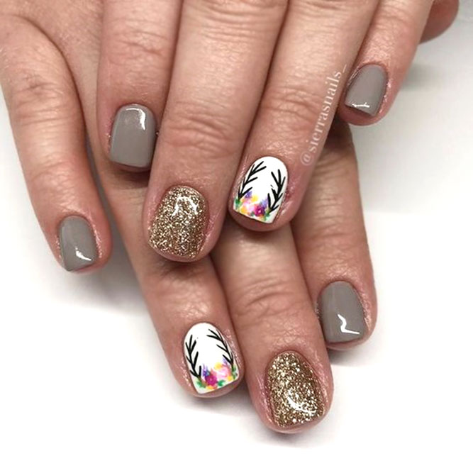 Taupe Color Nails With Gold Glitter #glitternails #taupenails