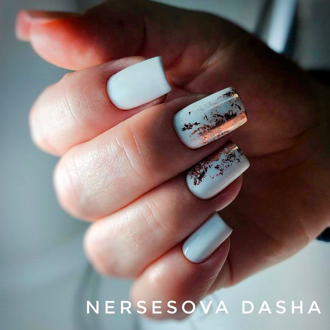 White Color Nails With Gold Foil