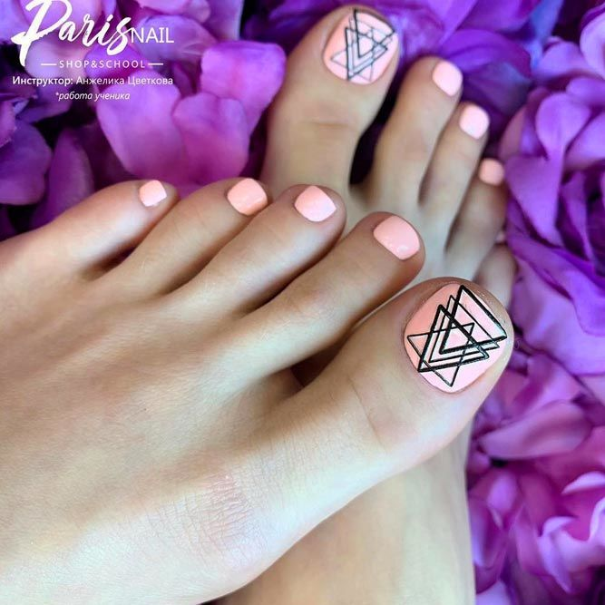 Nail Design With Pink Geometry Patterns