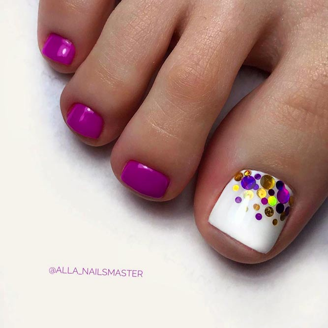 Toe Nail Designs with Bright Accents