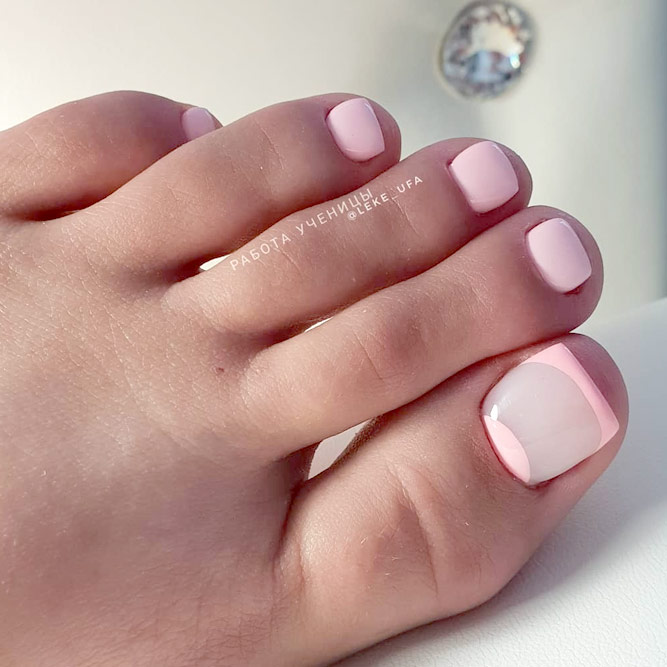 Toes With Pink French Design
