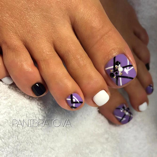 Abstracted Toe Nail Designs