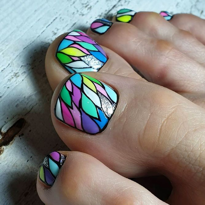 Cute Abstracted Toe Nail Designs