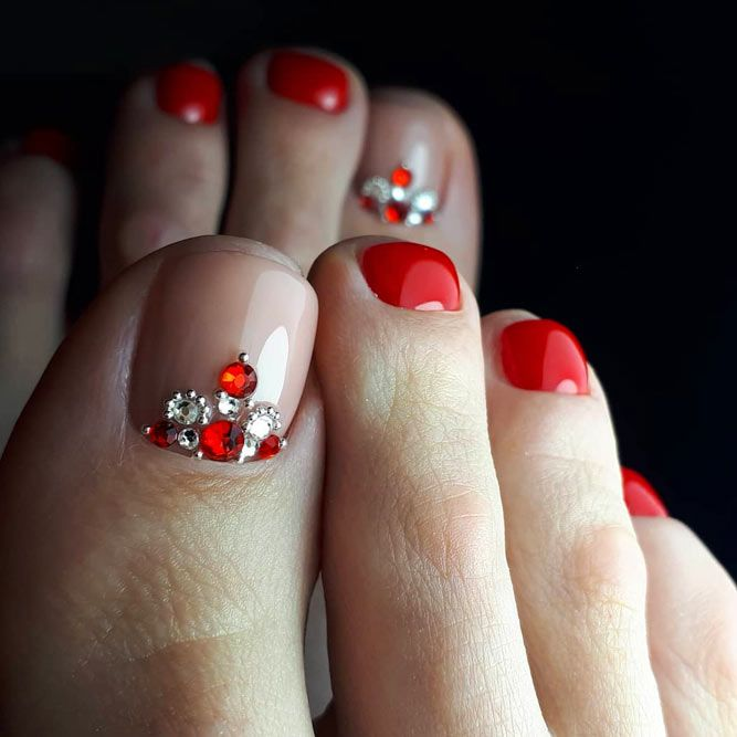 Red Chic Pedicure With Rhinestones