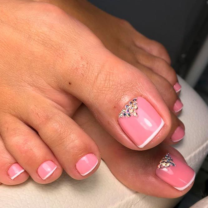 Pink Toes With French Design And Rhinestones