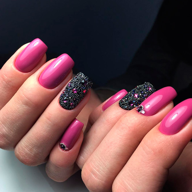Hot Pink Nails with Sparkling Rhinestones picture 1