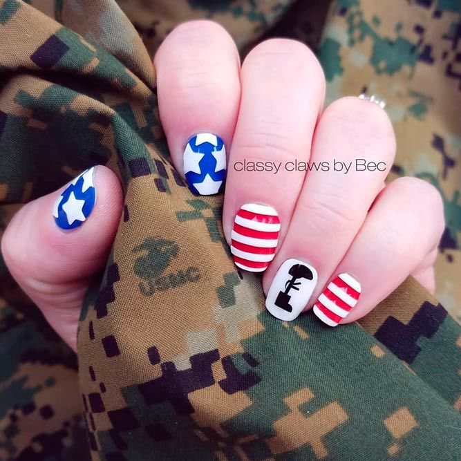 Simple Nails Art For 4th Of July