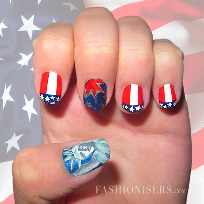 4th of July French Mani