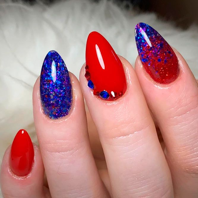 Blue And Red Ombre Nails Design