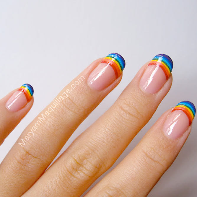 Rainbow French Tips