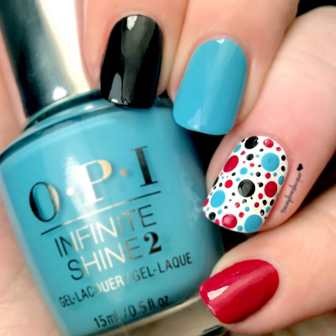 Lovely Nail Art with Color Combo Dots picture 2