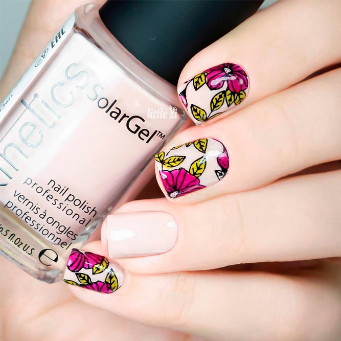 Nude Nail Designs with Flowers picture 2