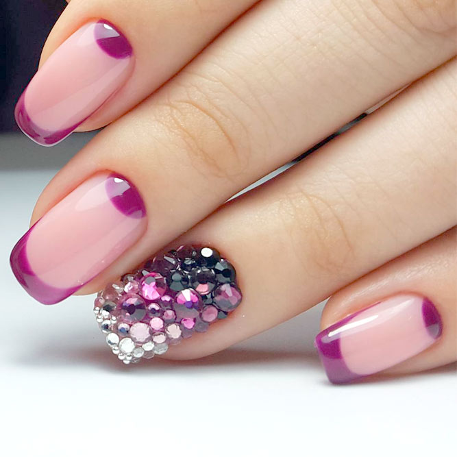 Lovely Purple Reverse French Manicure picture 1