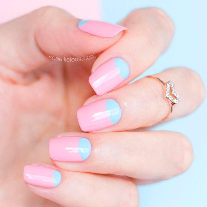 Сute Pink Reverse French Nails picture 1