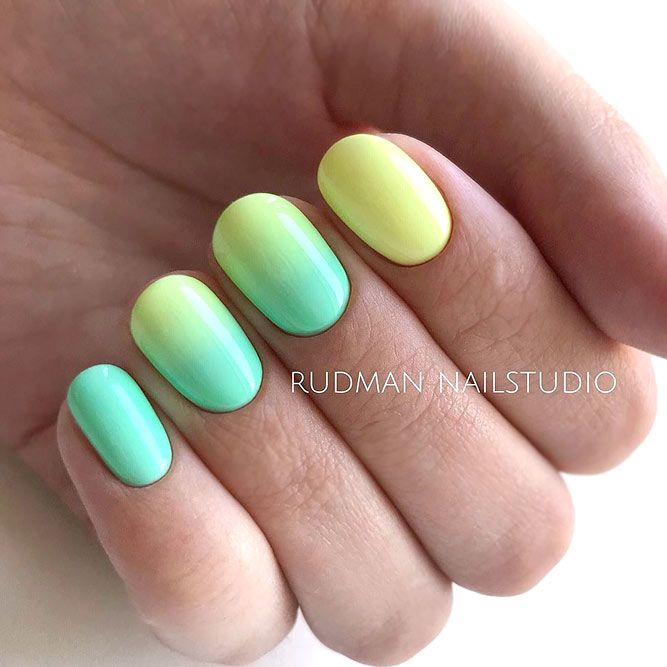 Bright Ombre Nail Art For Short Nails