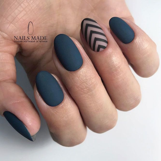 Matte Nails With Simple Accents