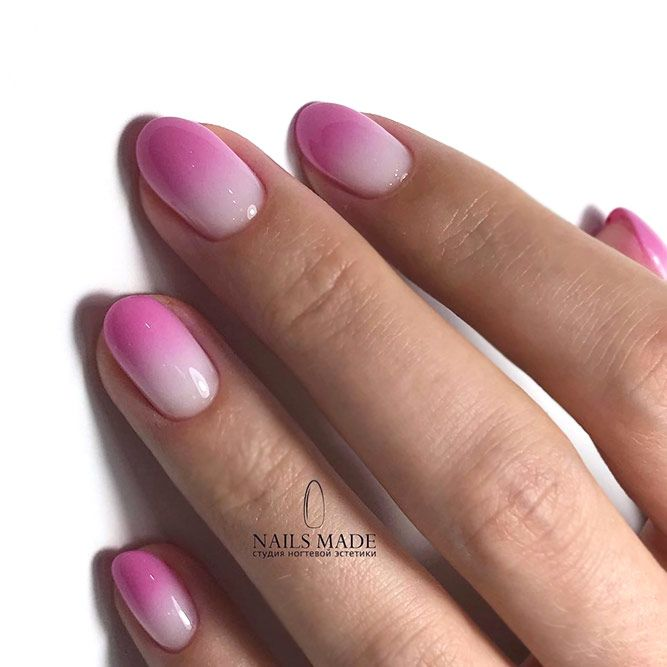Bright Ombre Nail Art For Short Nails - New Designs For Round Nails NailDesignsJournal.com