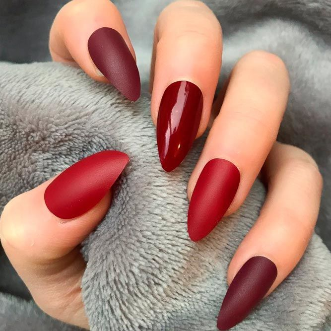 Unreal Burgundy Mix Nails Design
