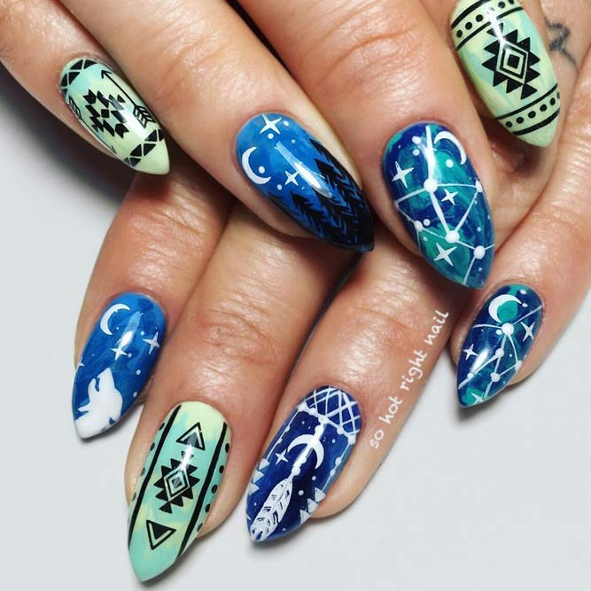 Fantastic Tribal Nail Art For Short Stiletto Nails #tribalnails #bluenails