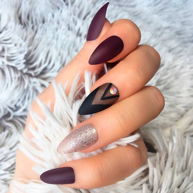 Matte Burgundy Stiletto Nails With Glitter Accent