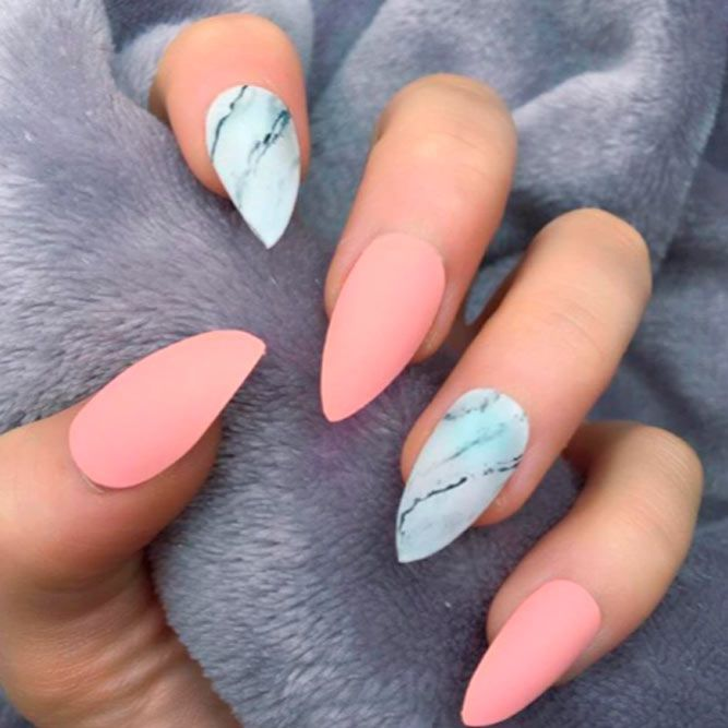 Cute Pink And Marbled Nails