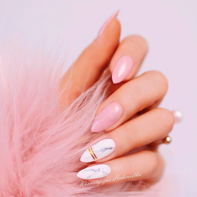 Cute Pink And Marbled Nails #pinknails #nudenails #marblenails